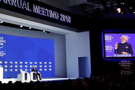 Modi, in Davos, Praises Globalization Without Mentioning India Trade Barriers