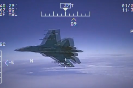 "US Navy releases video of ""unsafe"" Russian jet intercept"