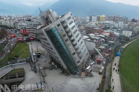 Dozens feared trapped in Taiwan after earthquake topples buildings