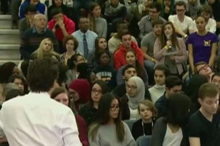 Canada's Trudeau corrects woman for using 'mankind' at town hall