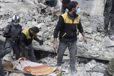 The Latest: Syrian state TV says nearly 10000 leave Ghouta