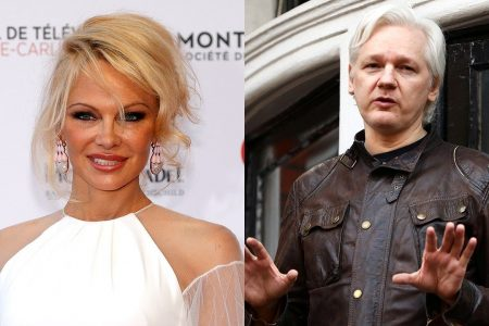 Pam Anderson and Julian Assange getting unusually close