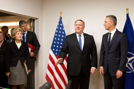 Mike Pompeo, Wasting No Time, Meets With NATO