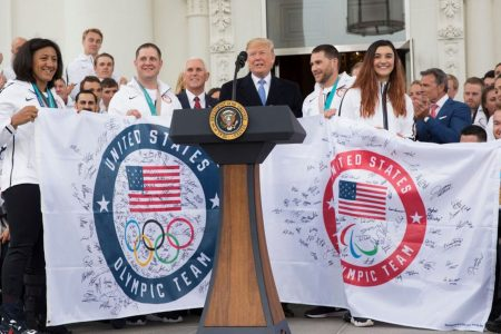 Despite notable absences, President Trump honors US Winter Olympians at White House