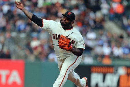 Pitching Panda: Pablo Sandoval works an inning on the mound for Giants