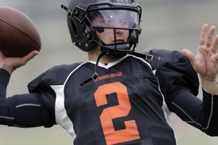 Johnny Manziel Rushes for 2 TDs, Throws Interception vs. Spring League West