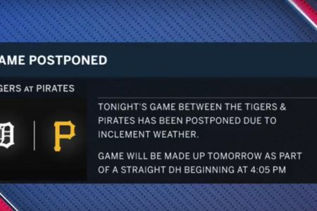 Rain postpones Tigers-Pirates; they'll play two Wednesday