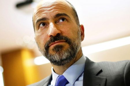 Uber CEO Dara Khosrowshahi says the company is on track for a late 2019 IPO