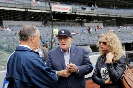 Rudy Giuliani took in a ballgame at Yankee Stadium for his 74th birthday. The crowd booed him.