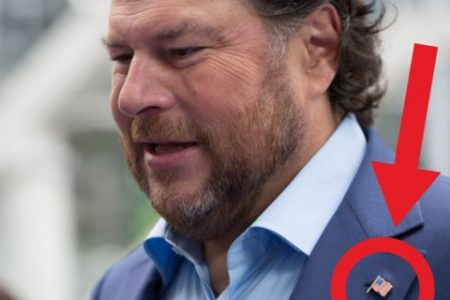Marc Benioff has taken to wearing an American flag pin — what could it mean?