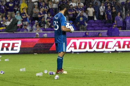 Orlando City fans litter field with trash after crucial no-call against Atlanta United