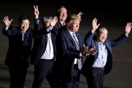 Trump offers hero's welcome to three Americans freed by North Korea