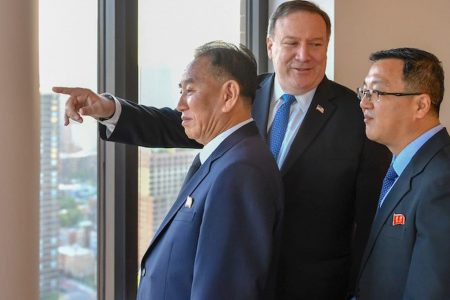 Pompeo and North Korean official are trying to salvage nuclear summit with New York skyline below them