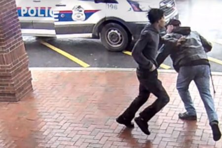 Quick-thinking bystander trips up armed suspect fleeing from police