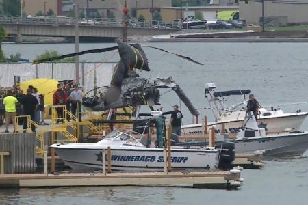 Helicopter plunges into Wisconsin river, killing man