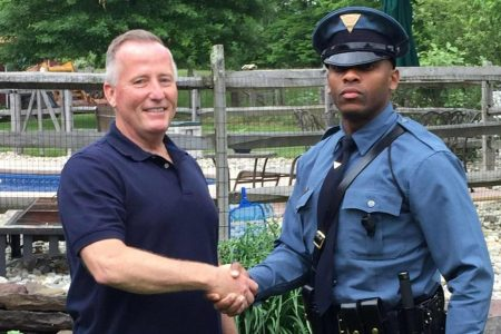 State trooper pulls over the cop who delivered him almost 27 years ago