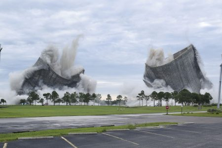 Spectacular implosion brings down twin cooling towers at Florida power plant