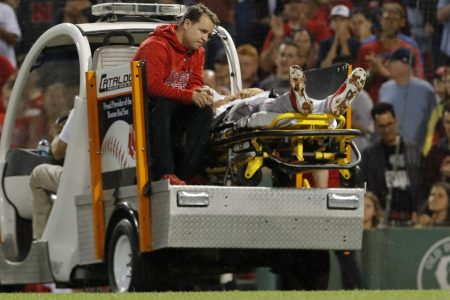 Los Angeles Angels' Jake Jewell suffers gruesome injury against Boston Red Sox