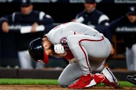 Bryce Harper limps off injured as Nationals' offense stays quiet in loss to Yankees