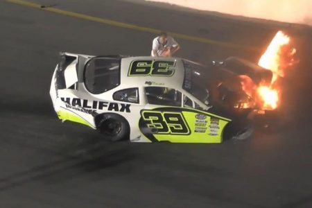His racecar burst into flames. His dad was there before firefighters to pull him out.