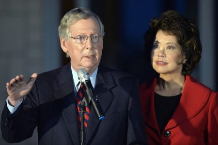 'You leave my husband alone!': Elaine Chao, Mitch McConnell confronted over family separations