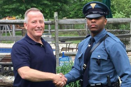 """Thanks for delivering me"": State trooper stops retired cop who delivered him as a baby"