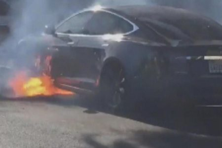 """Actress tweets video of husband's Tesla bursting into flames """"out of the blue"""""""