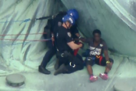 The woman who climbed the base of the Statue of Liberty to protest migrant family separations is in police custody