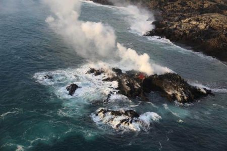 Islands are disappearing worldwide. But a new one has formed from Hawaii's Kilauea volcano.