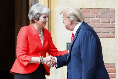President Trump praises British Prime Minister May one day after report criticizing her approach to Brexit