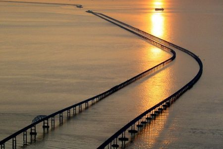 Truck plunges into Chesapeake Bay after crash in Virginia
