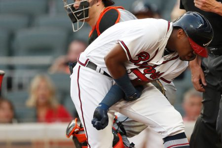 Ronald Acuna Jr. Hit With First Pitch, Putting Home Run Streak on Hold