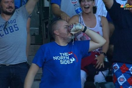 Man catches foul ball in beer cup, then chugs