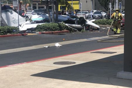 Five dead after small plane crashes in Southern California shopping center parking lot, authorities say