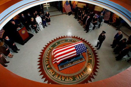 John McCain's Family and Fellow Veterans Say Farewell in Arizona