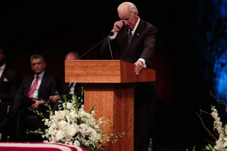 At McCain's Memorial, Tears, Laughs and Allusions to the Man Not Invited