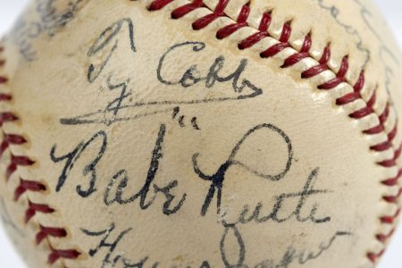 Autographed ball by inaugural Baseball Hall of Fame inductees sells for record price