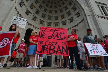 ESPN didn't break the Urban Meyer story, but Ohio State's fans didn't seem to care at rally