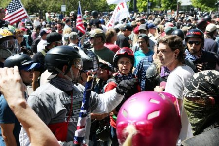 Protests again convulse Portland, Ore., as groups on the right and left face off