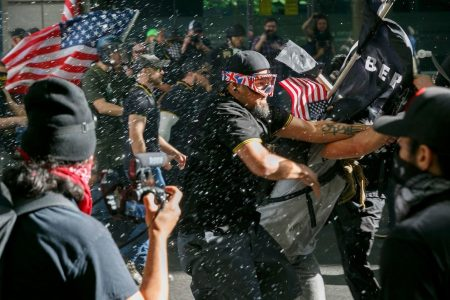As far-right marchers and antifa prepare to face off on Saturday, Portland braces for violence