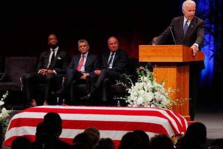 Biden, Larry Fitzgerald deliver tributes to John McCain at Phoenix memorial service