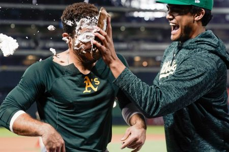 Newest Oakland A hits walk-off in MLB debut, enjoys a pie in his face