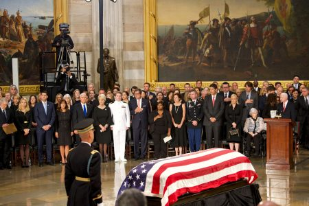 Nation's political leaders pay tribute as John McCain lies in state at US Capitol