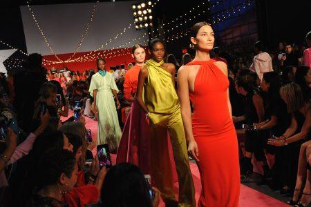 Lily Aldridge, 5 months pregnant, walks Brandon Maxwell runway at New York Fashion Week