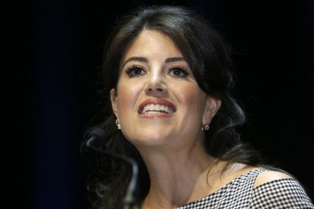 Monica Lewinsky walks off the stage at a Jerusalem conference when asked about Bill Clinton