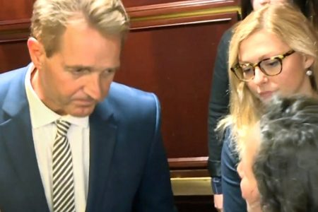 Jeff Flake Is Confronted on Video by Sexual Assault Survivors