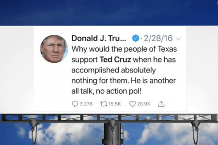 Donald Trump's Old Tweets About Ted Cruz Will be Posted on Texas Billboard After David Hogg Campaign