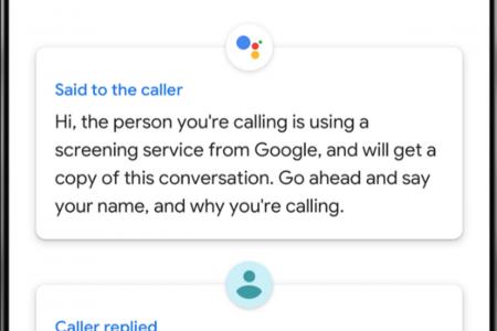 Call screen on Google's Pixel 3