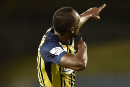 Usain Bolt Strikes His Signature Pose Celebrating First Goals In Pro Soccer