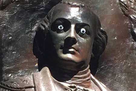 Georgia City Says It's 'No Laughing Matter' That Someone Put Googly Eyes On A Statue
